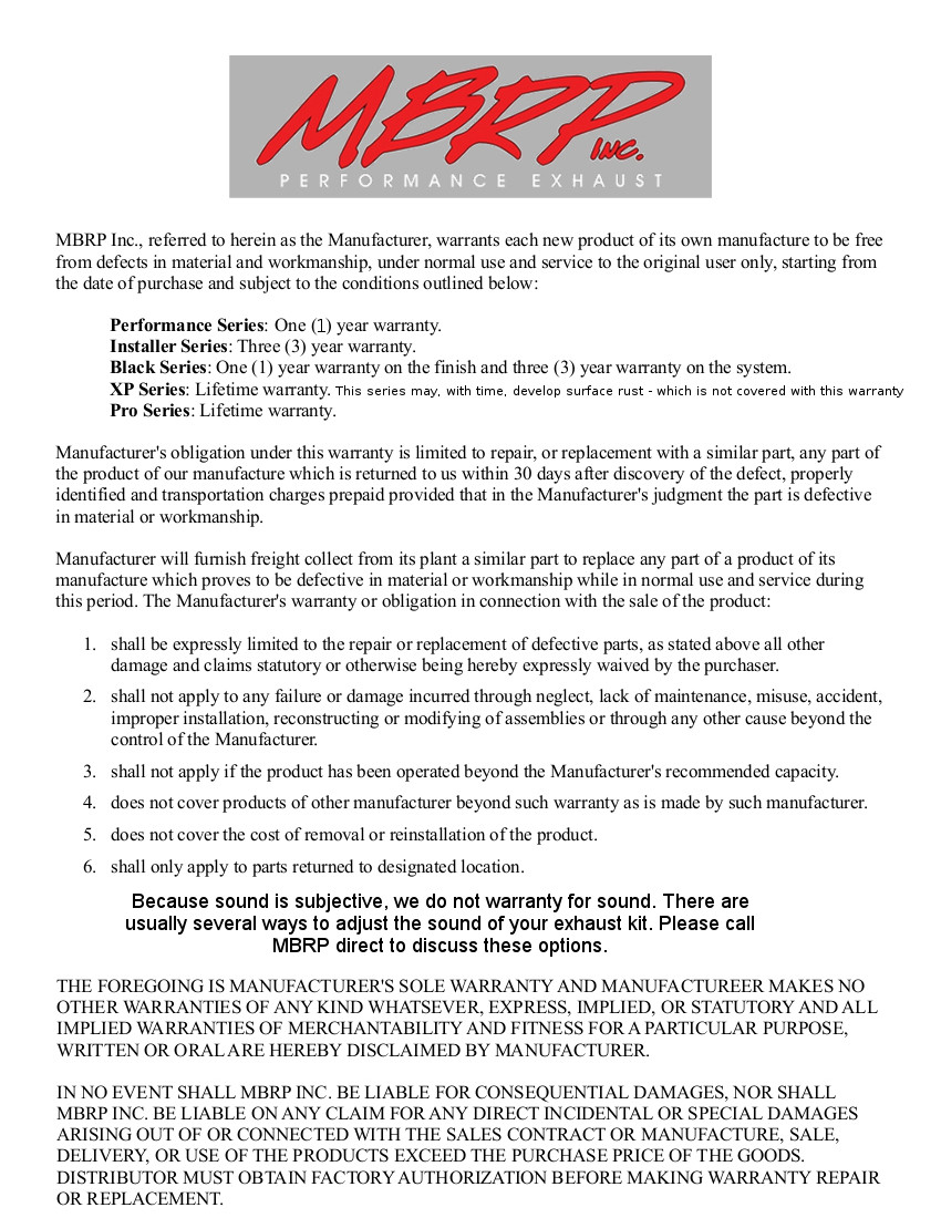 MBRP Warranty